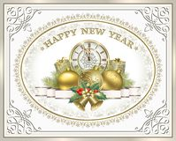 Postcard Happy New Year with gifts Stock Images