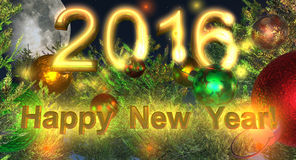 Postcard - Happy New Year 2016. With gold text Royalty Free Stock Photo