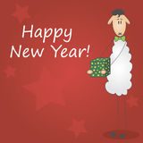 Postcard happy new year 2015. Postcard with the image of the father's sheep, new year greetings Royalty Free Stock Images
