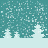 Postcard for Happy New Year. Landscape with fir and snowflakes. Blue fir on dark blue background. Vector illustration Stock Photos