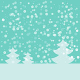 Postcard for Happy New Year. Landscape with fir and snowflakes. Light blue fir on blue background. Vector illustration Royalty Free Stock Image