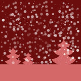 Postcard for Happy New Year. Landscape with fir and snowflakes. Pink fir on dark red background. Vector illustration. Postcard for Happy New Year. Winter Stock Photography