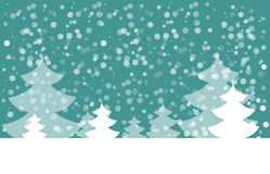 Postcard for Happy New Year. Landscape with fir with snowflakes. White fir on blue background. Vector illustration Royalty Free Stock Photos