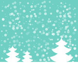 Postcard for Happy New Year. Landscape with fir and snowflakes. White fir on light blue background. Vector illustration Royalty Free Stock Photography