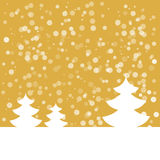 Postcard for Happy New Year. Landspace with fir tree with snowflakes. White fir on gold background. Vector illustration Stock Image