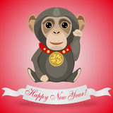 Postcard for happy new year with lucky monkey Stock Image