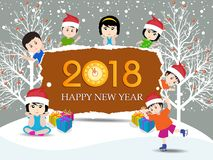 Postcard Happy New Year 2018 and merry christmas with funny kids Stock Image