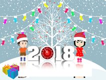 Postcard Happy New Year 2018 and merry christmas with funny kids Royalty Free Stock Image