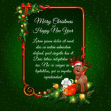Postcard happy new year and merry Christmas with Royalty Free Stock Photo