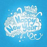 Postcard Happy New Year and Merry Christmas. Greeting card Happy New Year Stock Images