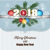 Postcard Happy New Year 2018 and merry christmas Stock Image