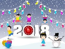 Postcard Happy New Year 2018 and merry christmas with funny kids Royalty Free Stock Photo