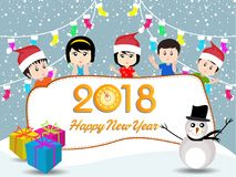 Postcard Happy New Year 2018 and merry christmas with funny kids Stock Images