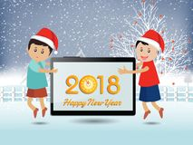 Postcard Happy New Year 2018 and merry christmas with funny kids Royalty Free Stock Photography