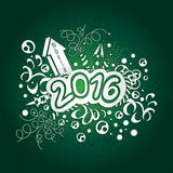 Postcard Happy New Year and Merry Christmas 2016. Stock Photo