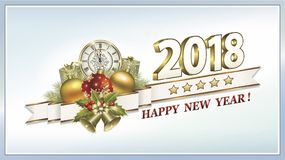 Postcard Happy New Year 2018. With Christmas gifts Royalty Free Stock Image