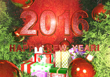 Postcard - Happy New Year 2016. With red text Stock Photo
