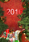 Postcard - Happy New Year 2016. With red text Stock Photos