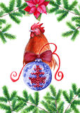Postcard happy new year. Rooster with Christmas ball. Background watercolor illustration. Postcard happy new year. with a knitted Christmas ball. Background Royalty Free Illustration