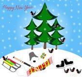 Postcard happy new year. Skates Royalty Free Stock Photography