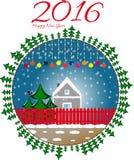 Postcard happy new year. Snowflake and bullfinch Royalty Free Stock Image