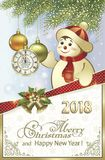 Postcard Happy New Year 2018 with a snowman on a background of fir branches, balls and clock. In a frame with snowflakes Stock Images