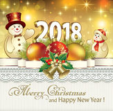 Postcard Happy New Year 2018 with a snowman Stock Photography