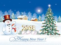 2018 Happy New Year with a snowman and a Christmas tree. Postcard Happy New Year of 2018 with a snowman and a Christmas tree in the background of a winter Royalty Free Stock Images