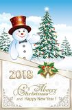 Happy New Year 2018 with Christmastree and snowman. Postcard Happy New Year of 2018 with a snowman and   Christmas tree  in a frame with snowflakes Royalty Free Stock Images