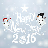 Postcard Happy New Year with snowmans Stock Images