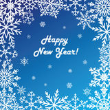 Postcard Happy New Year. Winter pattern of snowflakes on a blue background. Vector Stock Photos