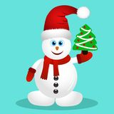 Postcard with happy snowman. Royalty Free Stock Photography