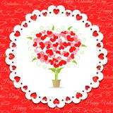 Postcard Happy Valentine's abstract tree of hearts Royalty Free Stock Images