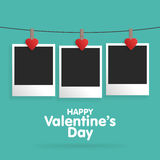 Postcard Happy Valentine's Day with a blank template for photo. Royalty Free Stock Images