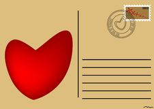 Postcard with heart Royalty Free Stock Image