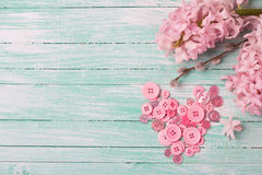 Postcard with heart from buttons and hyacinths and willow flower Stock Image