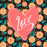 Postcard with heart on dark floral pattern. Wedding card. Sign Love Royalty Free Stock Image