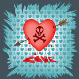Postcard with a heart pierced by an arrow and the skull Royalty Free Stock Photography