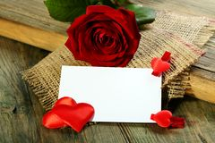 Postcard, heart and red rose Stock Photos