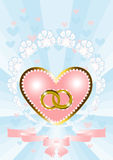 Postcard from the heart and wedding rings Royalty Free Stock Photo