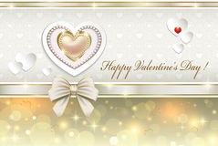Postcard with hearts for Valentines day Royalty Free Stock Image