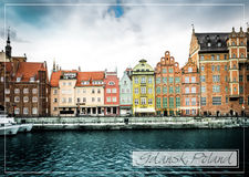 Postcard with historic city of Gdansk Royalty Free Stock Photos