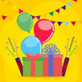 Postcard for the holiday or birthday with the image of gifts, confetti and balloons with flags and ribbons. Vector Stock Photography