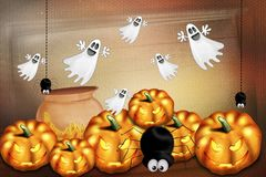 Happy Halloween - funny gourds stock illustration