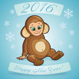 Postcard for Holiday Happy New Year with cartoon of a cute baby Royalty Free Stock Images