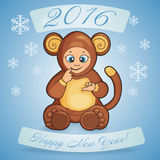 Postcard for Holiday Happy New Year with cartoon of a cute baby Stock Photo