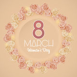 Postcard for holiday International Woman's Day with roses Royalty Free Stock Photography