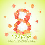 Postcard for holiday International Woman's Day with roses Royalty Free Stock Photo