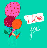 Postcard-I-love-you. Postcard I love you. Flowers. Moderate cyan - lime green background. Vector Stock Image