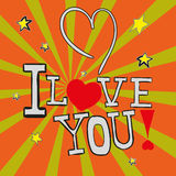 Postcard I Love You! in vector EPS 10 royalty free stock image